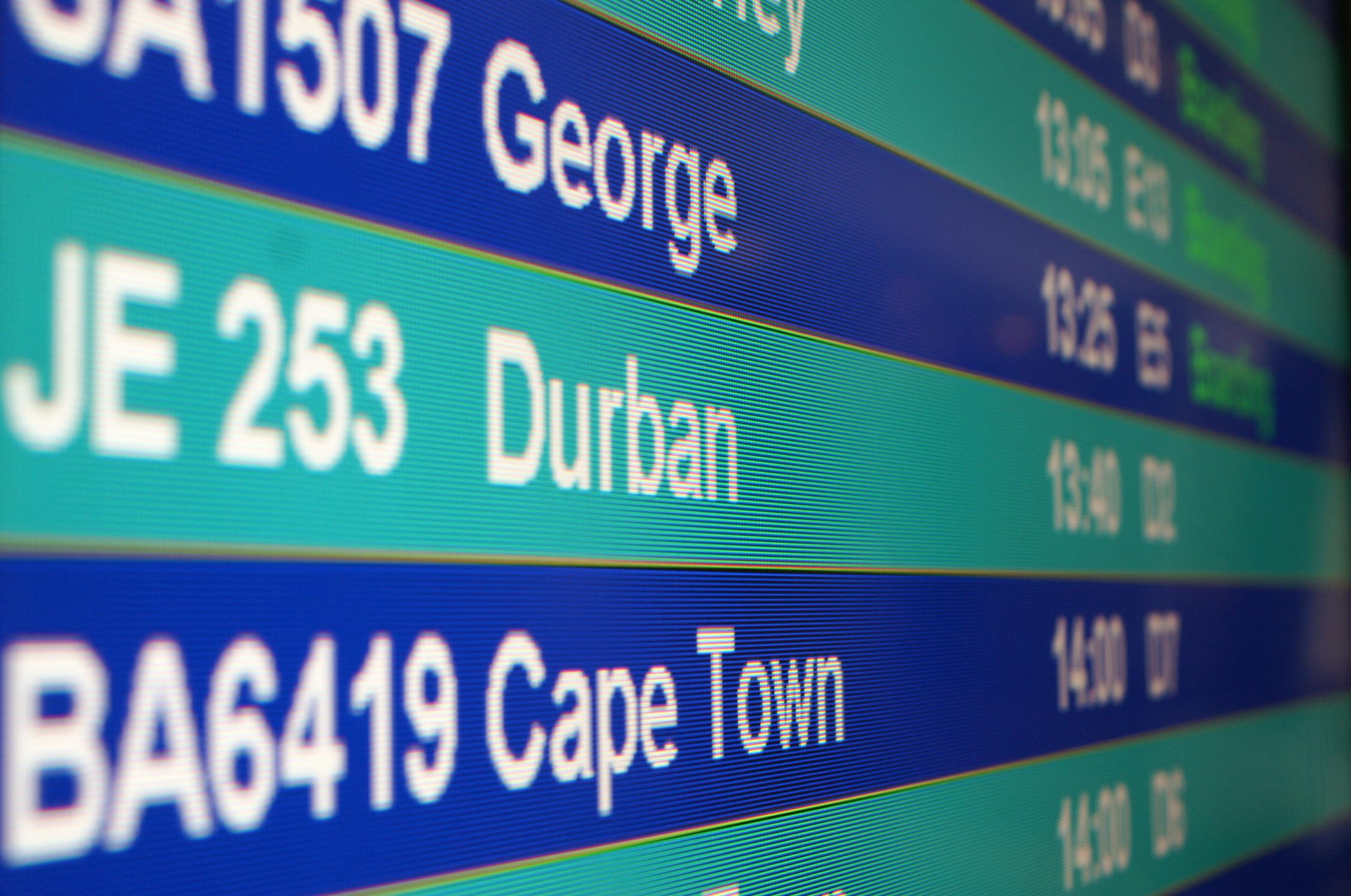Anzeigetafel der Flüge