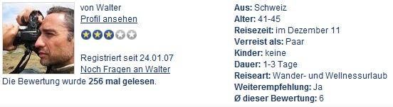 Rating-Profil von Walter Schärer bei HolidayCheck.ch