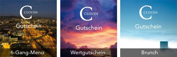 Geschenkgutschein des Clouds-Restaurants Zürich