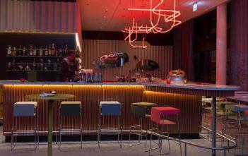 Hotelbar mit roter Lichtskulptur
