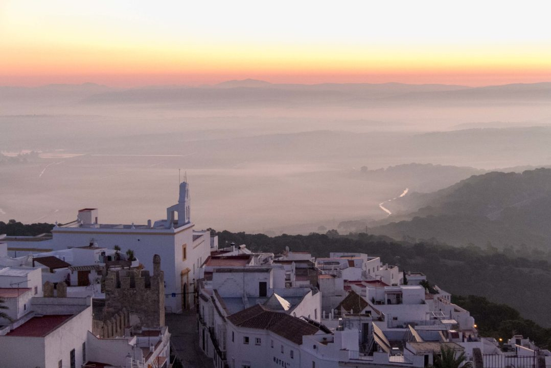 Dawn in Vejer de la Frontera as seen from our hotel room terrace