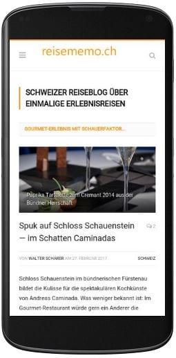 reisememo.ch Homepage im Responsive Design für mobile Geräte