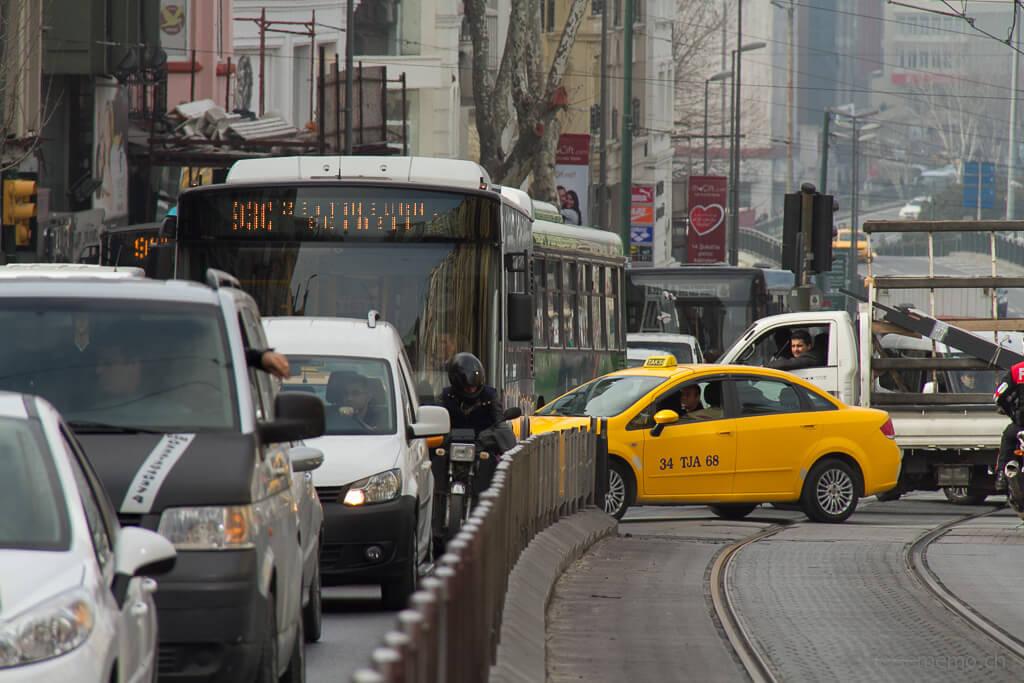 Taxi im Stau in Istanbul
