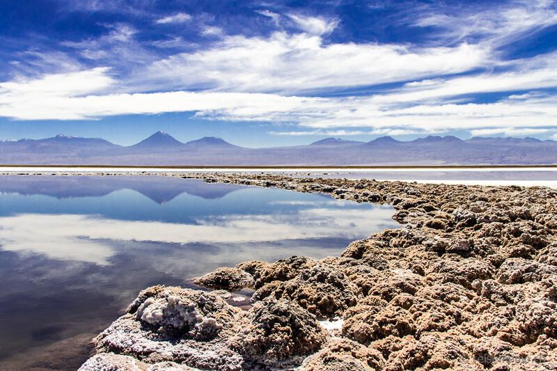Vulkanspiegelungen im Salar de Atacama