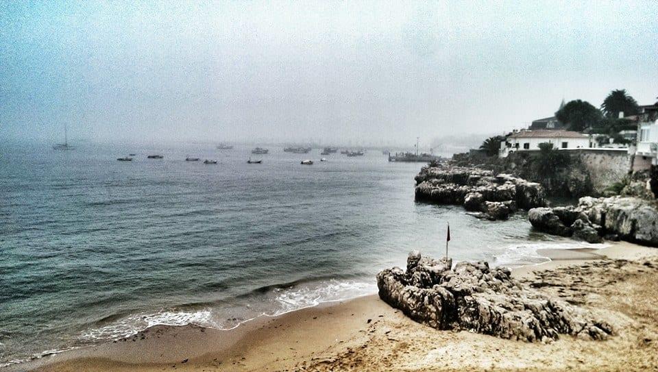 Cascais' bay near Lisbon on a foggy day