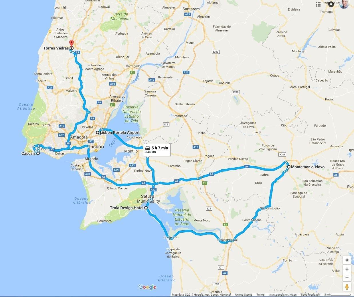 Route der Lissabon-Rundreise nach Cascais, Areias do Seixo und mehreren Golfplätzen