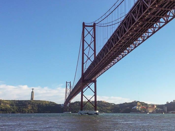 """Lisbon's """"25 de Abril"""" red suspension bridge"""