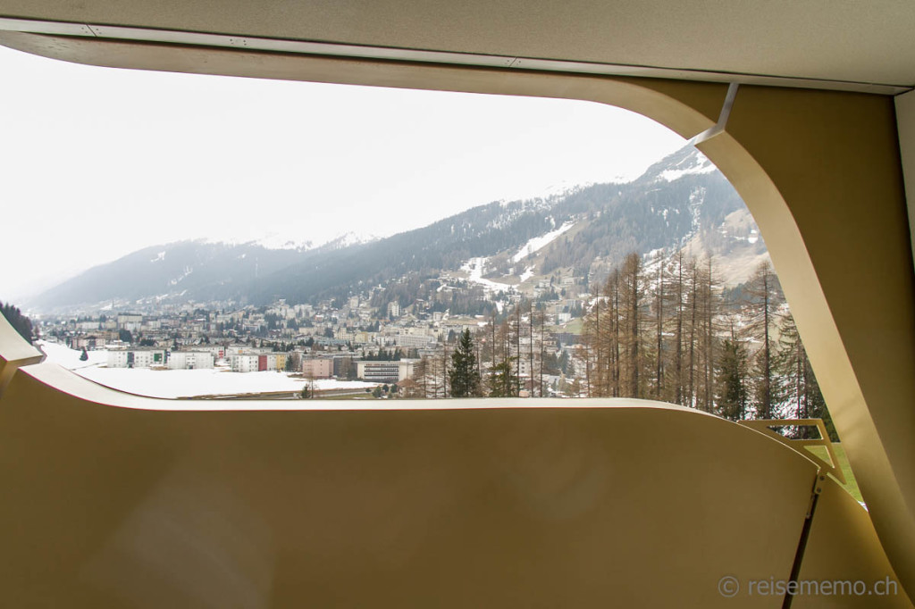 View of Davos from a hotel room balcony