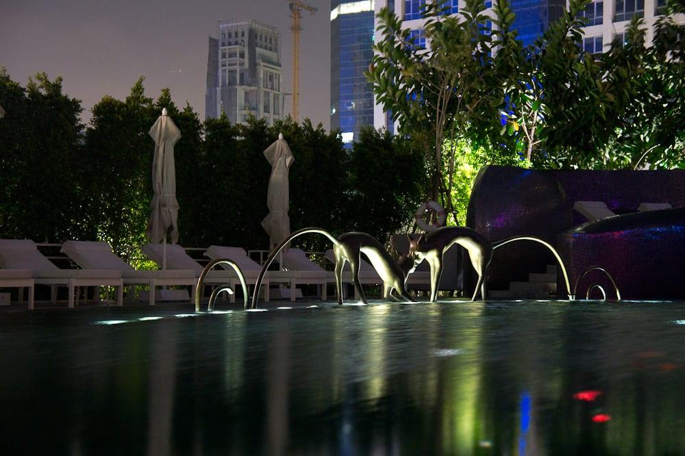 The pool area of the W Bangkok