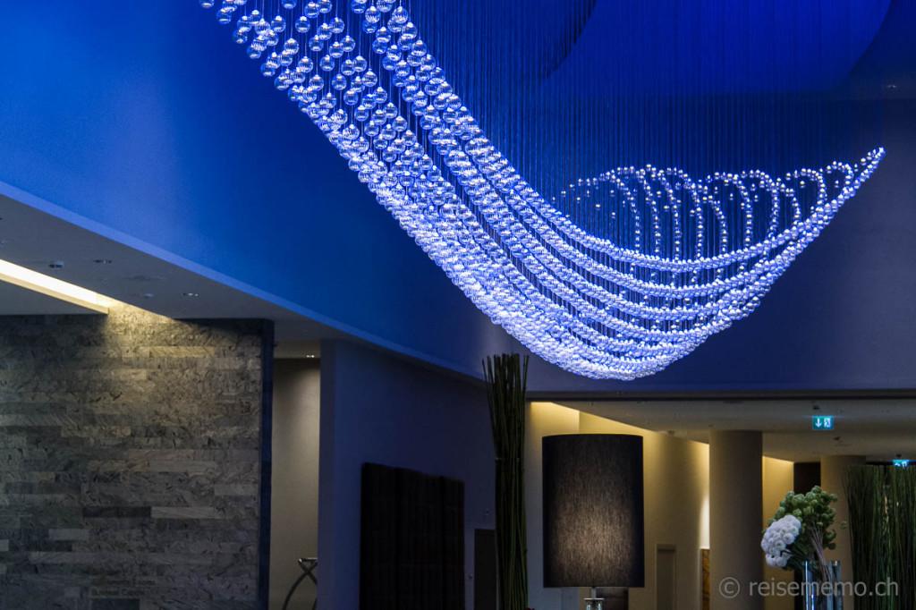 Breath-taking blue glass chandelier by Moritz Waldemeyer