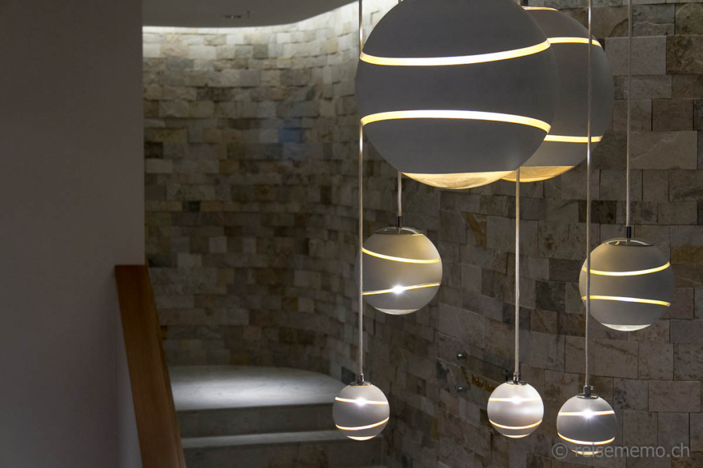 Attractive lamps in the spa area