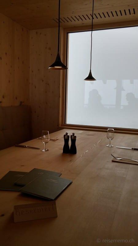 Essnische im Chäserrugg Bergrestaurant