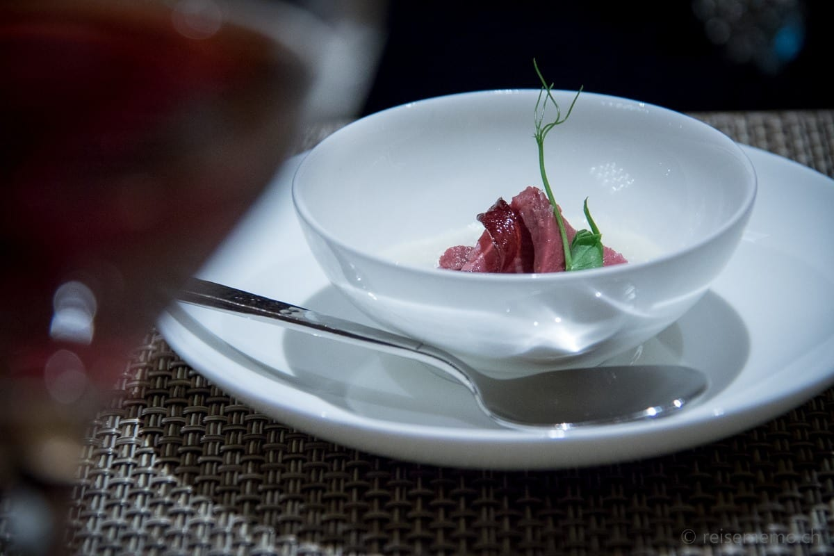 Amuse-Bouche of duck with sweet onion