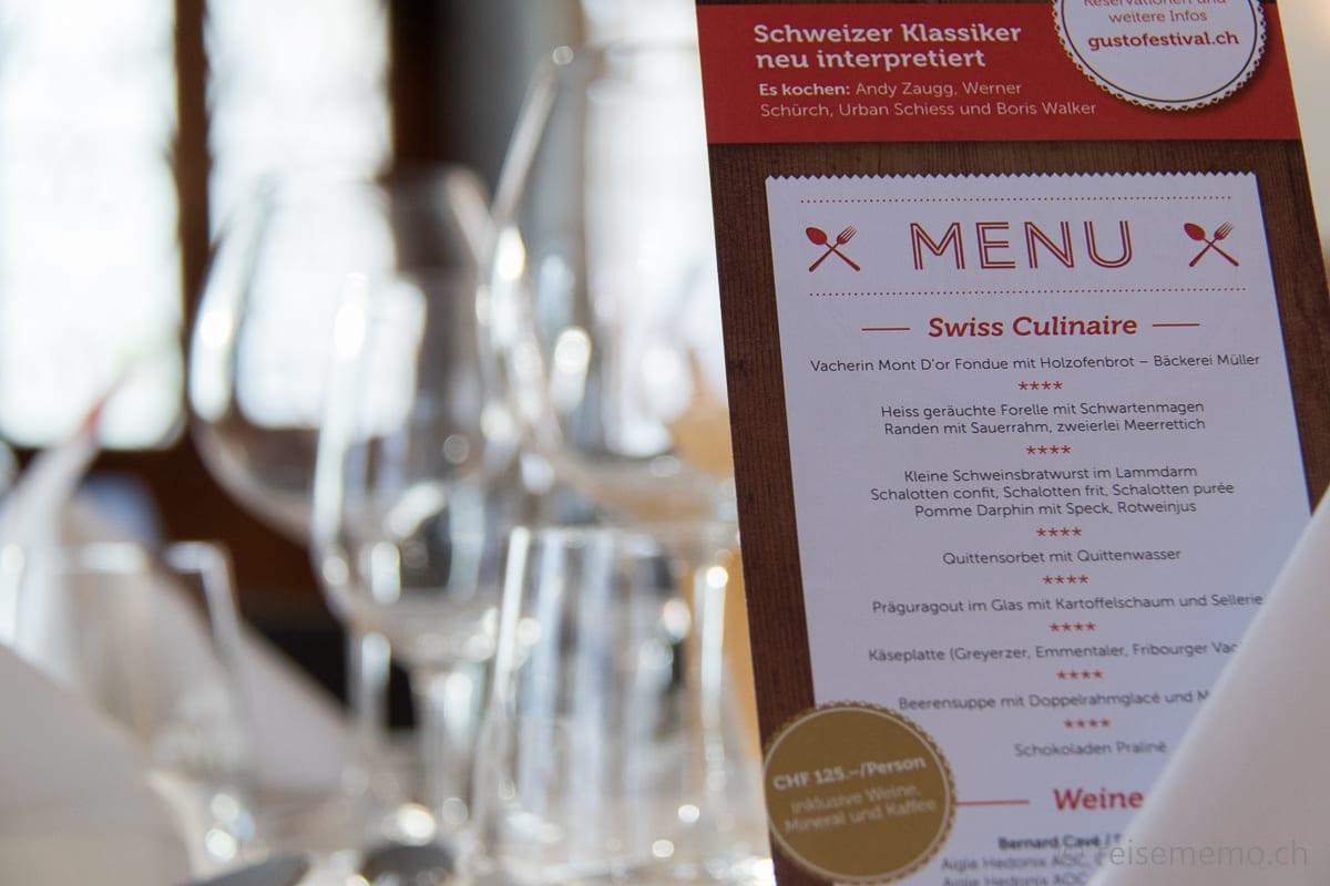 Swiss Culinaire Menu mit acht Gängen