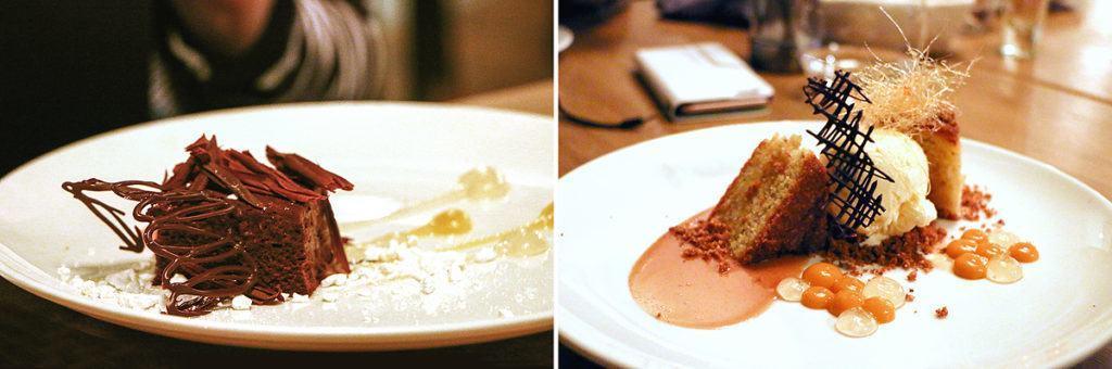 Schokoladen-Kuchen 'Marseille'; Mais-Mandel-Kuchen mit Crème-brulée Eis