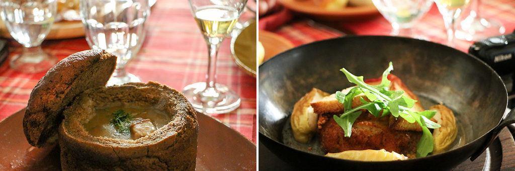 Pilzsuppe im Brot; vegetarische Hauptspeise