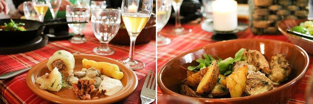 Cepelinai – Kartoffelklösse mit Hackfleischfüllung; Kaninchen mit Kartoffeln