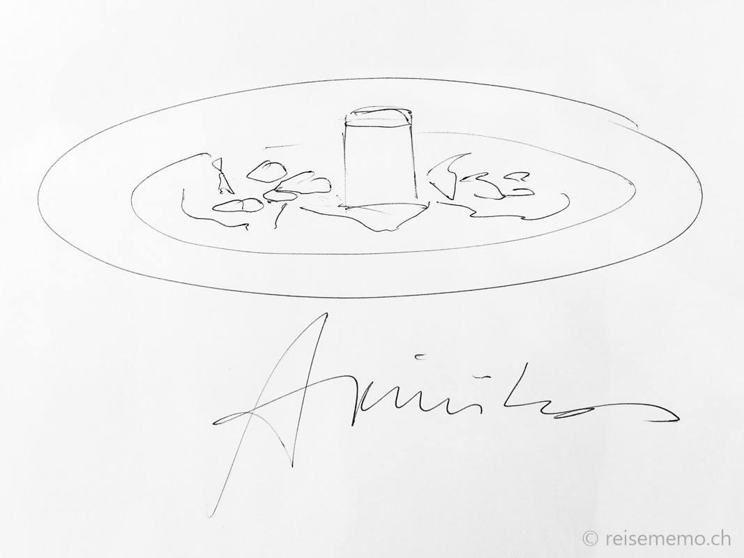 Dessert sketch autographed by August Minikus
