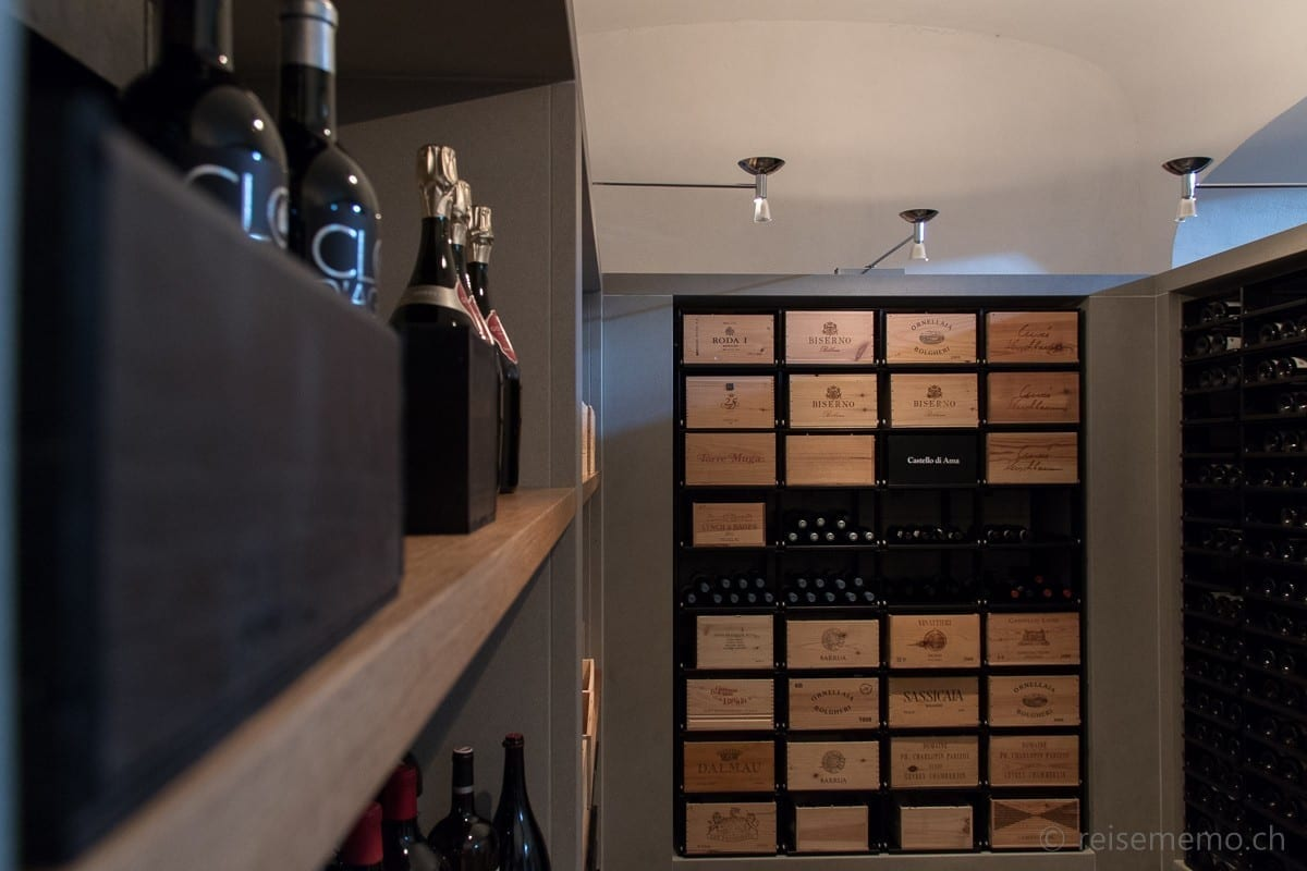 Wine cellar with selection of Clos d'Agon