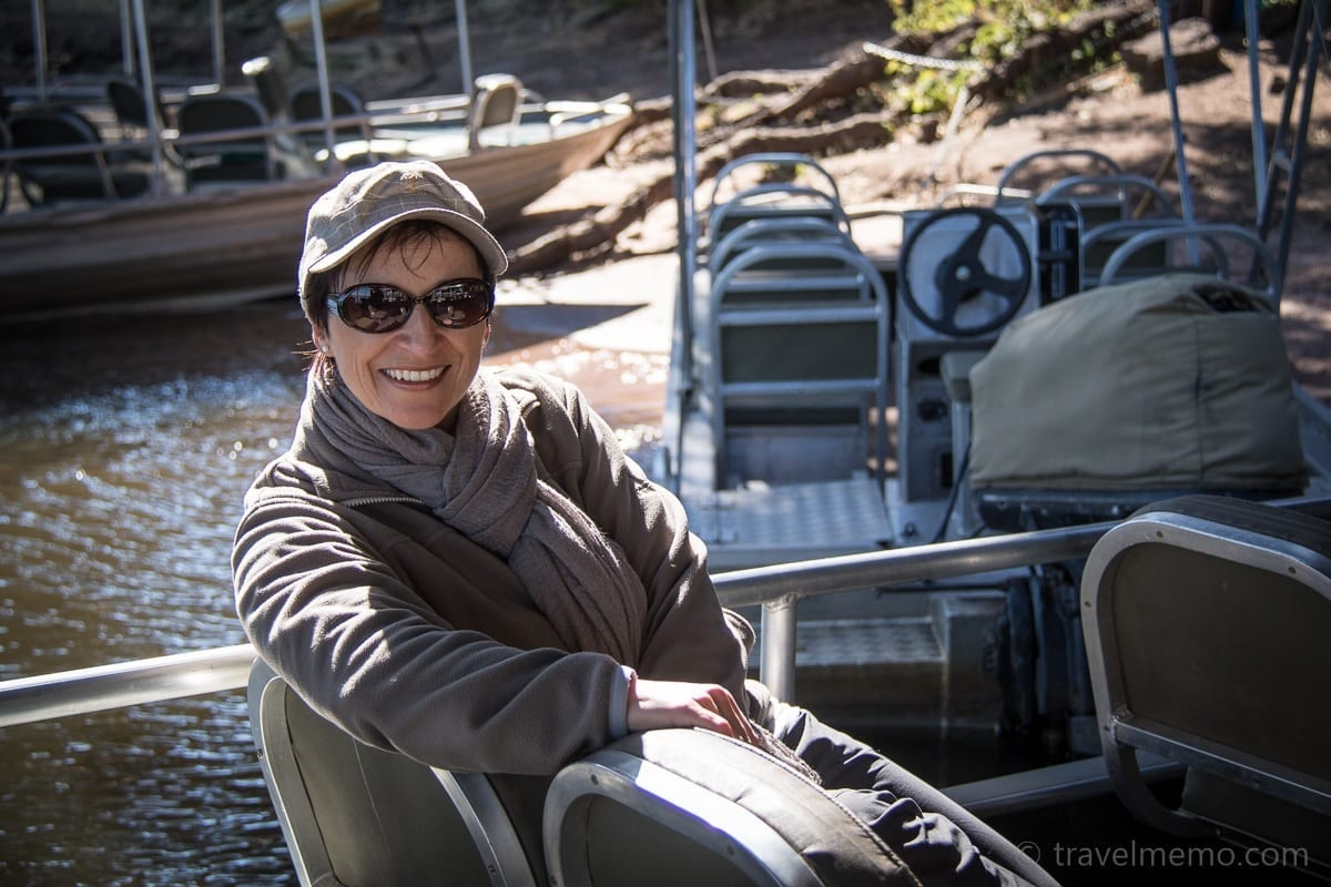 Katja ist bereit für die Bootsfahrt