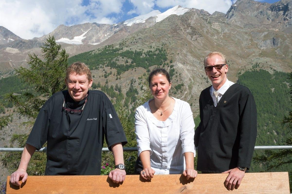 Markus Neff, Maren Müller, David Gruss — Waldhotel Fletschhorn Saas Fee   Bild © www.foodfreaks.ch