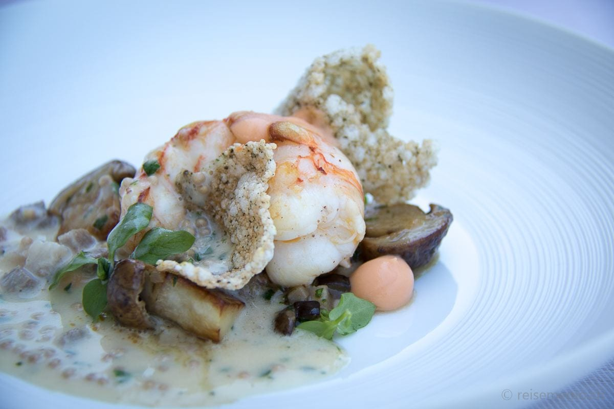 Ecco Restaurant Zurich: Dublin Bay prawn with porcini and calf's head