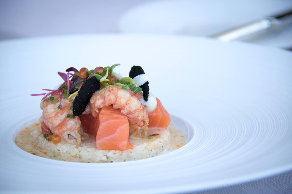 Ecco Restaurant Zürich: Lachsforelle mit Flusskrebs auf Blumenkohl