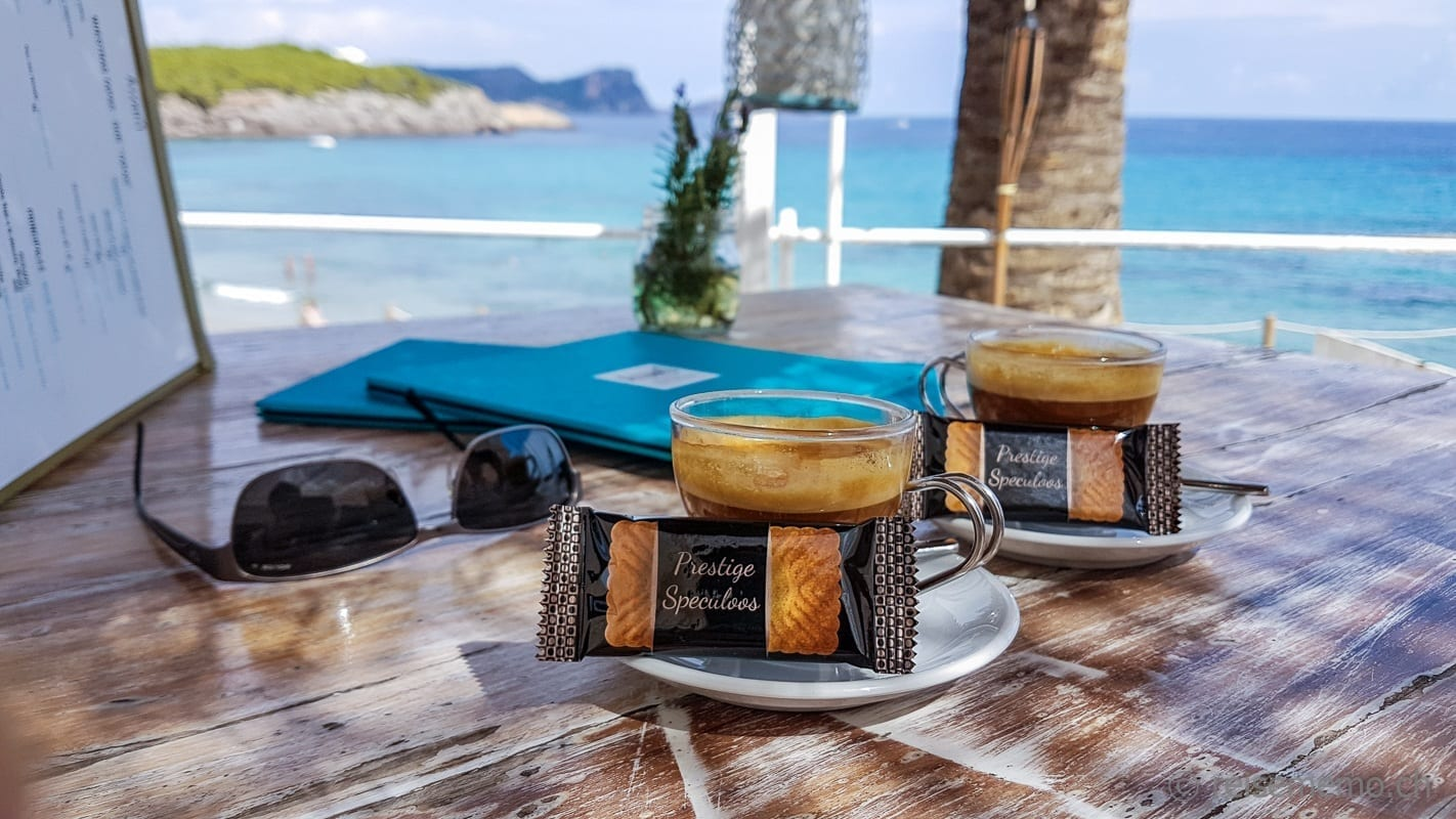 Cortado coffee in the Atzaró Beach Club Ibiza