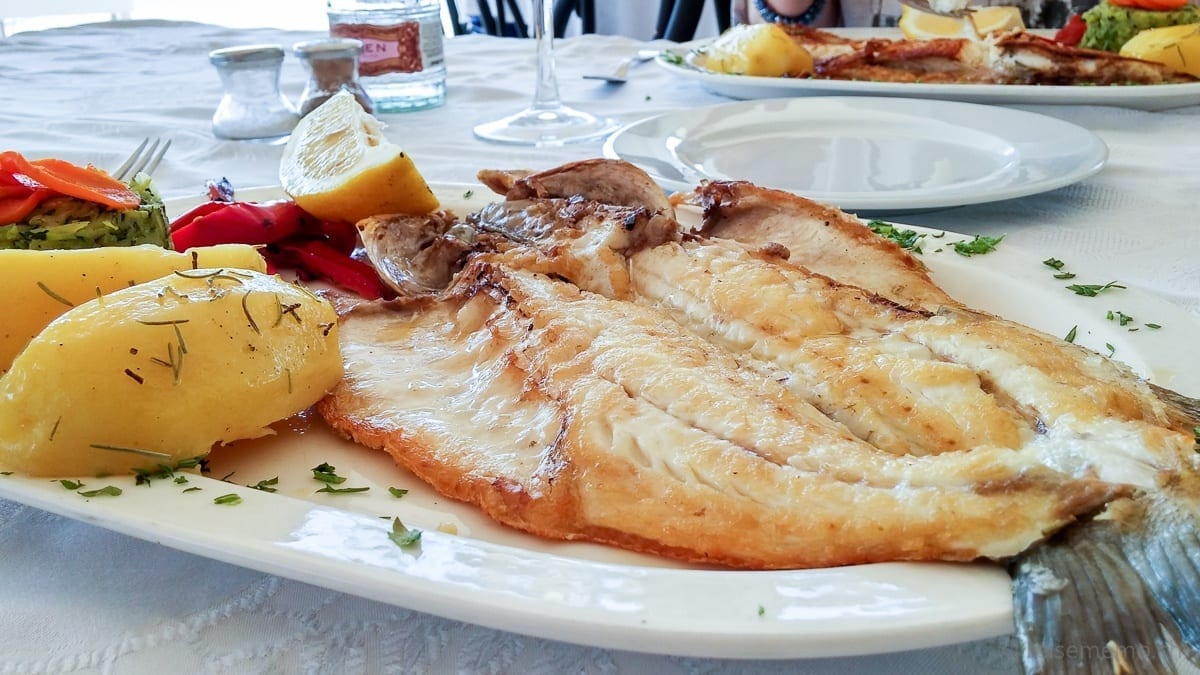 Fish plate: fresh seabass grilled