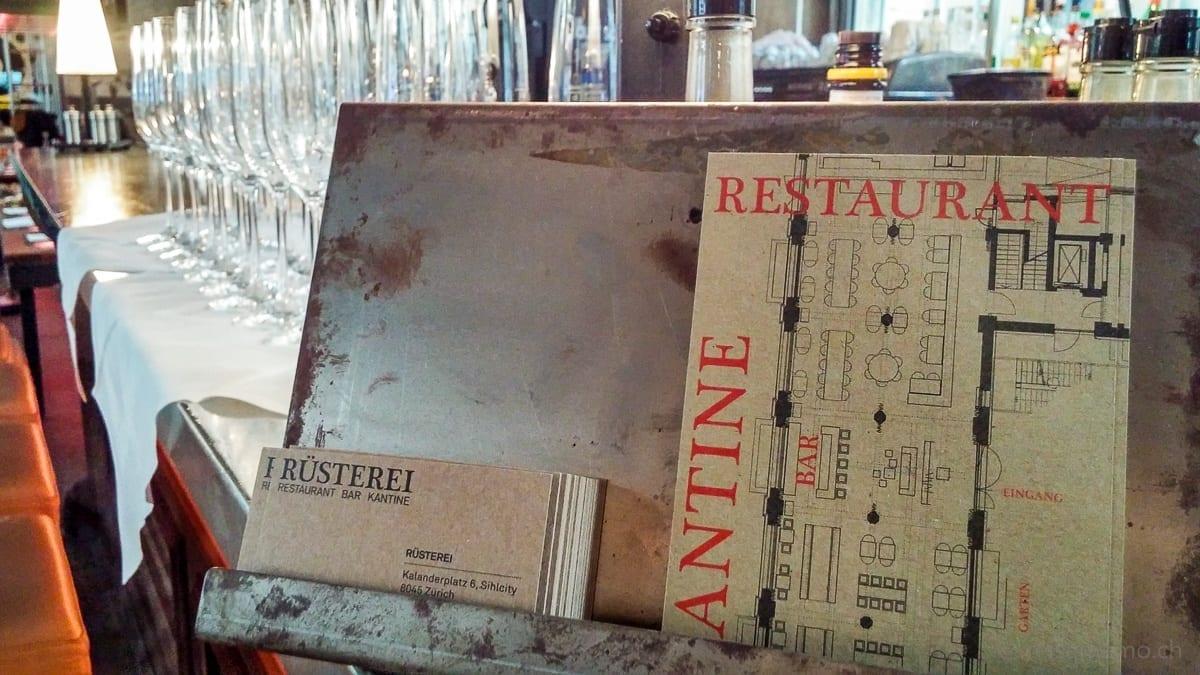 Empfang mit Prosecco, Grundriss des Rüsterei-Restaurants