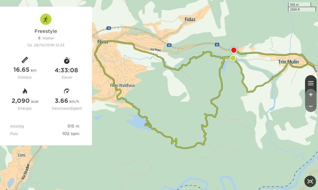 Route unserer Crestasee-Caumasee-Wanderung