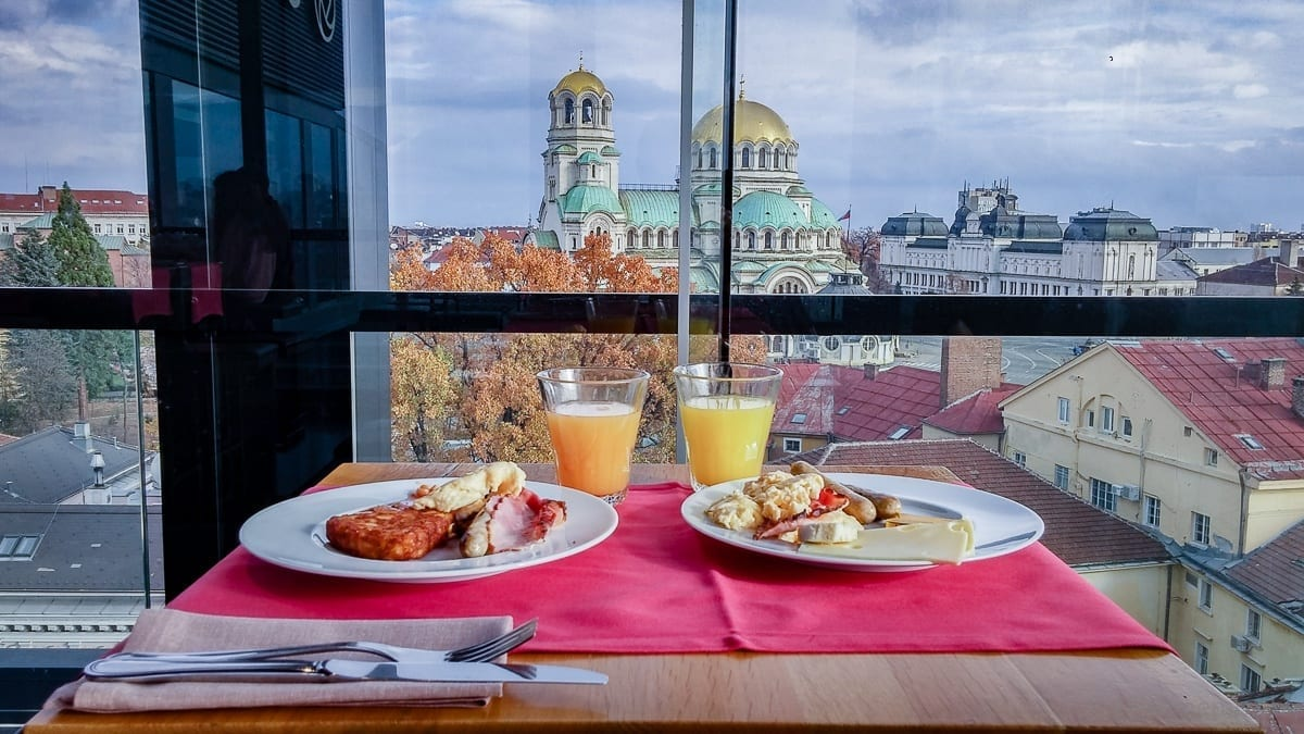 Breakfast plates with view of Saint Alexander Nevski Cathedral