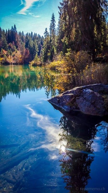 Spiegelung von Bäumen und Himmel im Crestasee