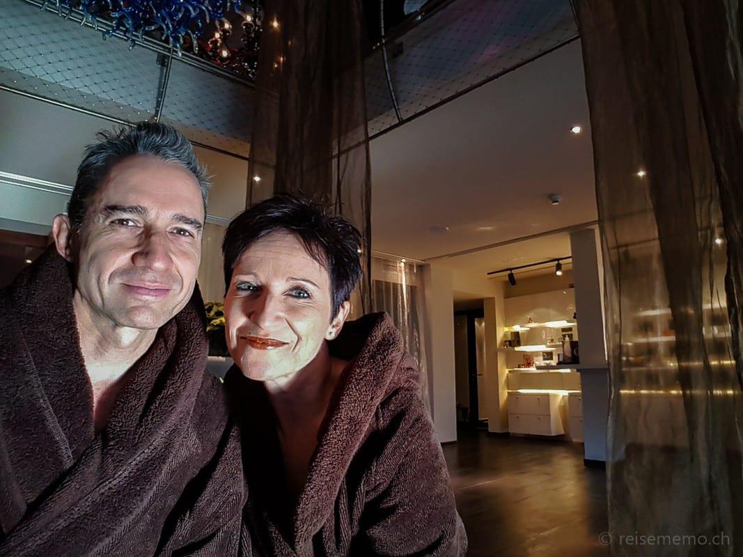 Walter and Katja clad in bathrobes