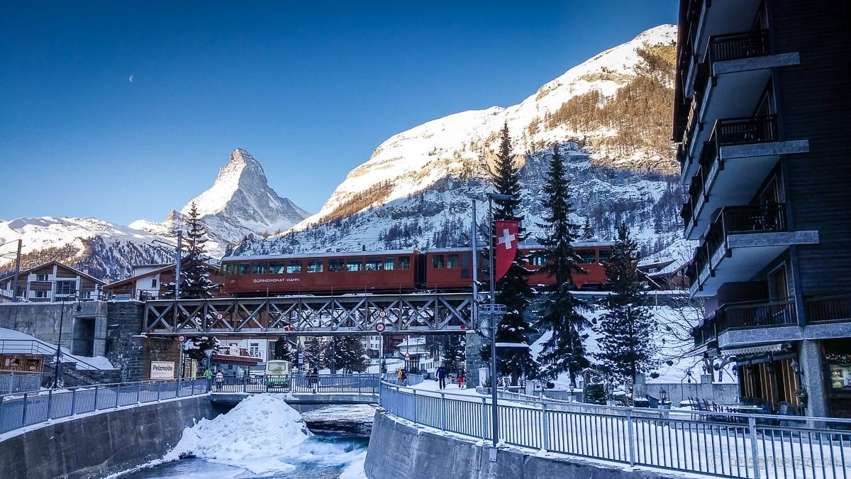 Gornergratbahn railway with the Matterhorn