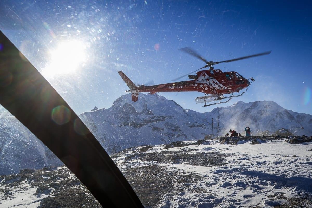 Abflug der Air Zermatt vom Rothorn