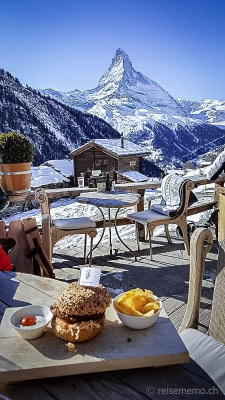Chez Vrony: Burger mit Aussicht aufs Matterhorn