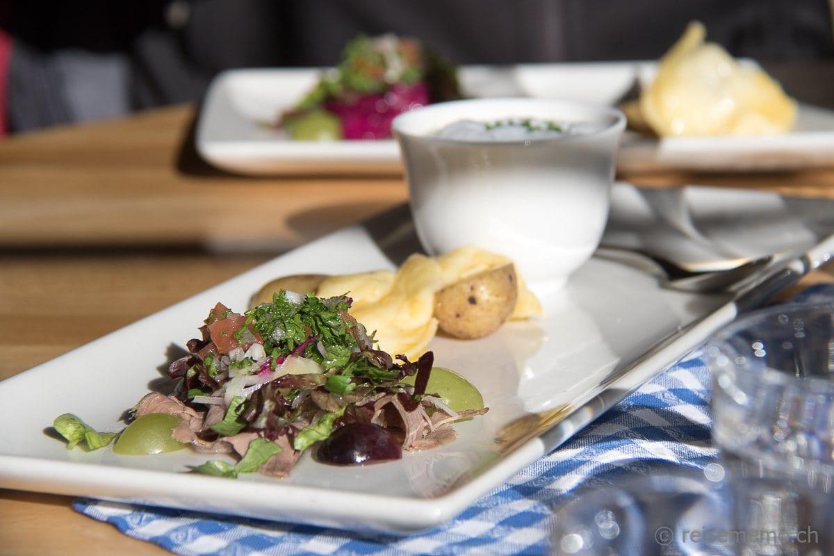 Vorspeise im Restaurant Paradies Zermatt
