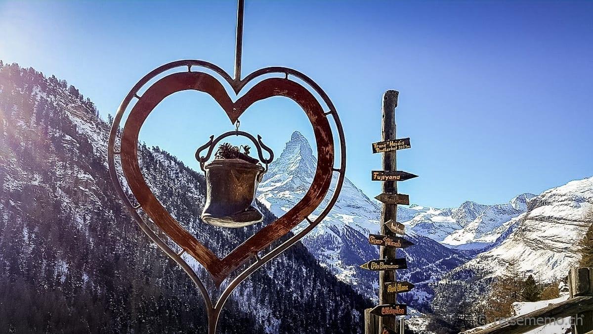 Herz beim Restaurant Findlerhof Zermatt