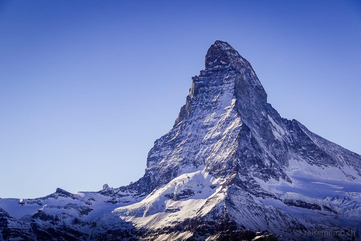 Nahaufnahme vom Matterhorn von der Fluhalp aus