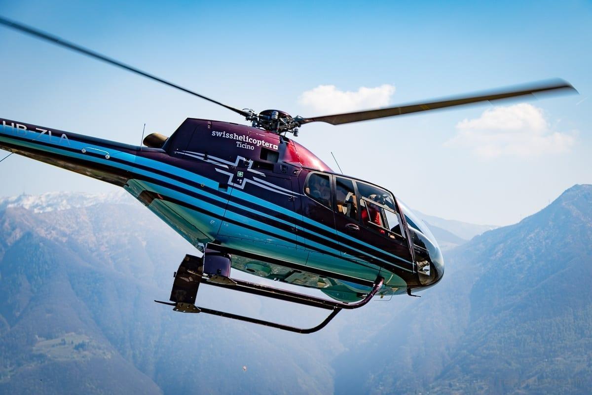 Abflug von Swiss Helicopter vom Rustico del Sole