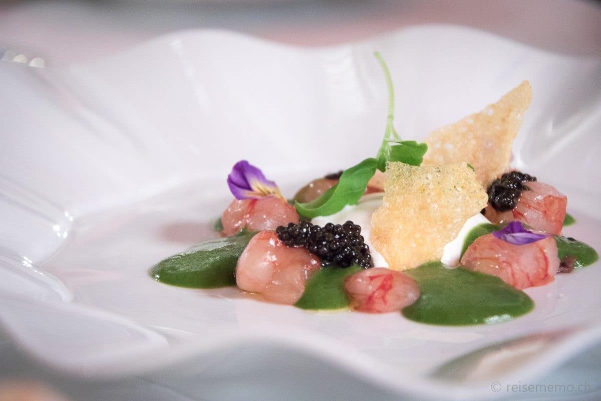 Vorspeise: Rote Mazara del Vallo Crevette mit Kaviar, Burrata und flüssigem Salat