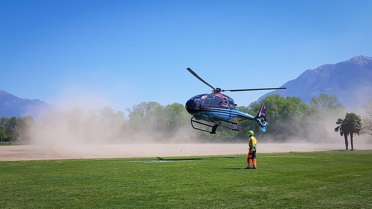 Helikopterlandung im Castello del Sole