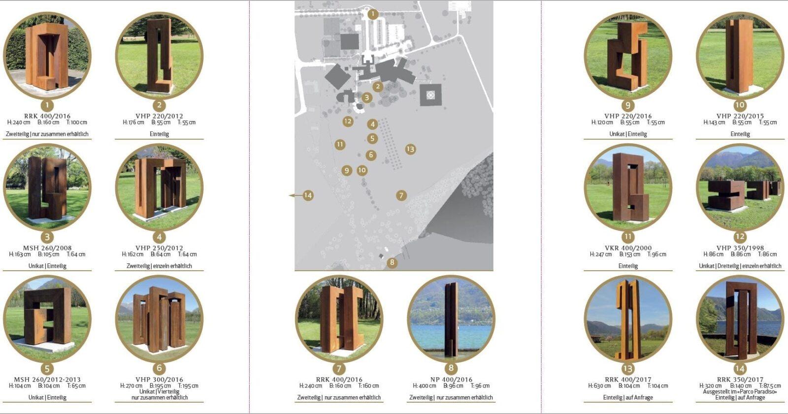 Lageplan der Licini Plastiken im Park des Castello del Sole