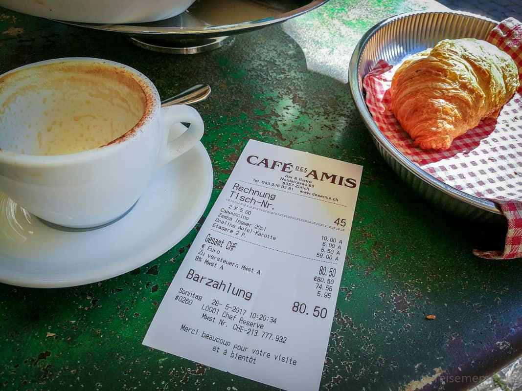Brunch-Rechnung des Café des Amis über 80.50 für zwei Personen