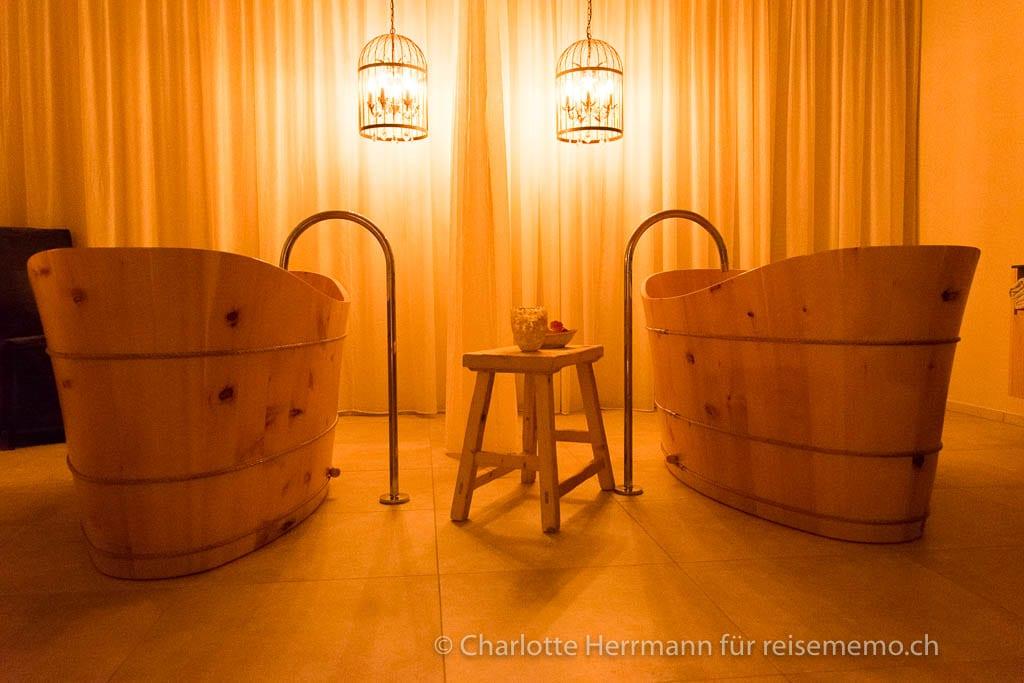 Holzwannen für Südtiroler Bäder im Schenna Resort