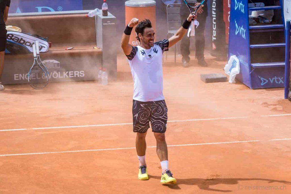 Fabio Fognini feiert seinen Gstaad Open Sieg 2017