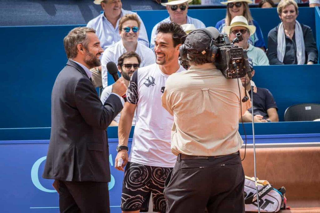 Fabio Fognini beim Sieger-Interview für das Fernsehen