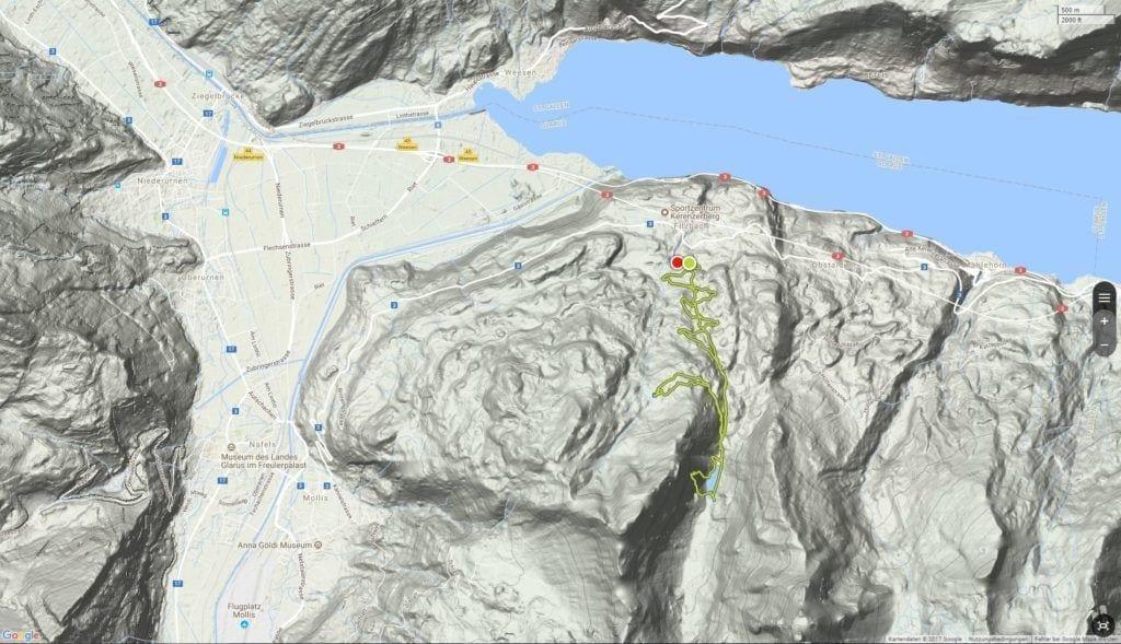 Geländekarte mit Talalpsee und Walensee
