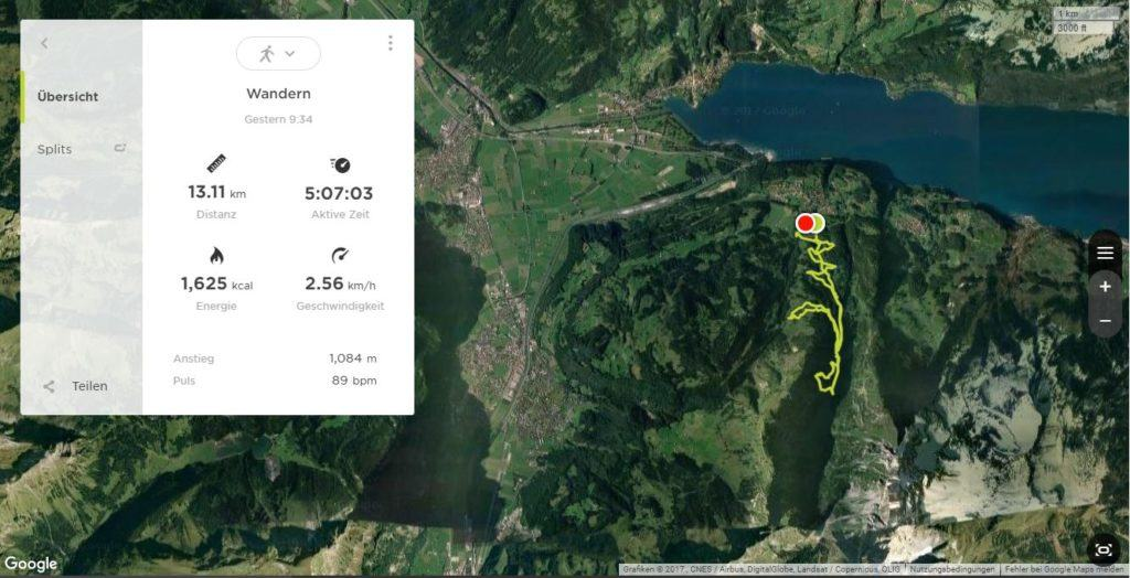 Wanderroute Filzbach - Talalpsee - Habergschwänd
